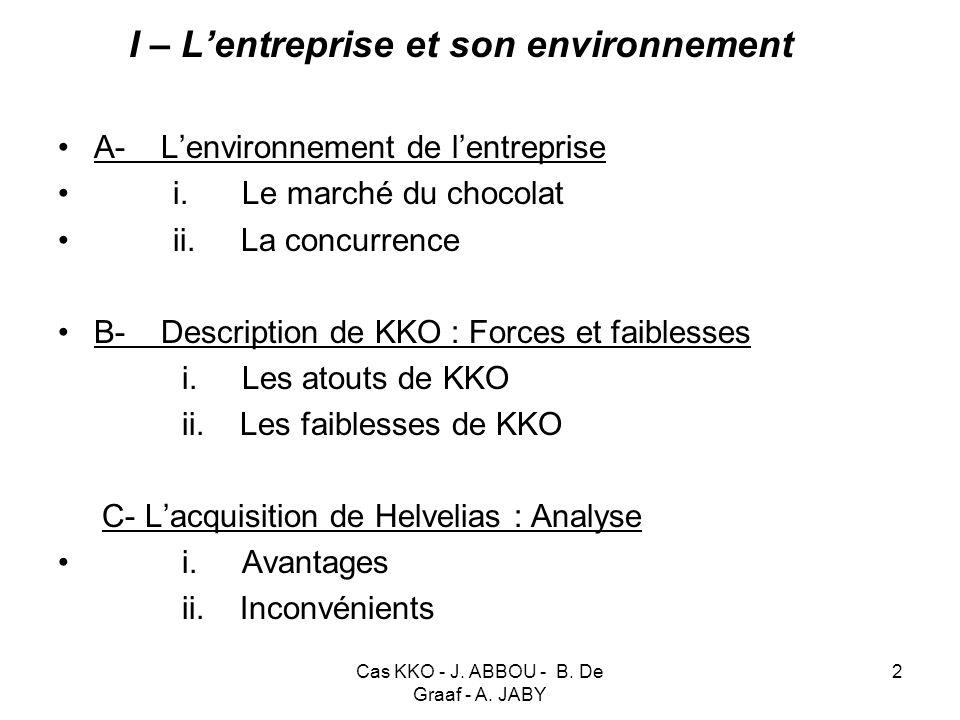 I – L'entreprise et son environnement
