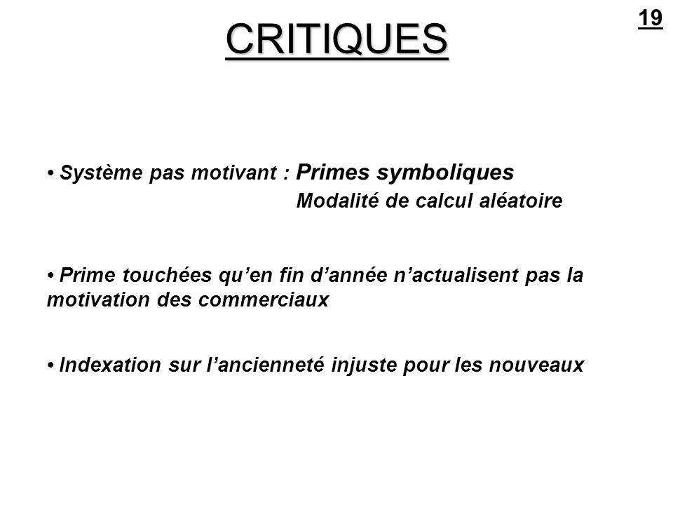 CRITIQUES 19 • Système pas motivant : Primes symboliques
