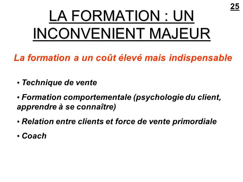 LA FORMATION : UN INCONVENIENT MAJEUR