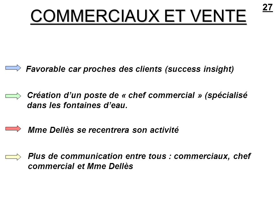 27 COMMERCIAUX ET VENTE. Favorable car proches des clients (success insight)