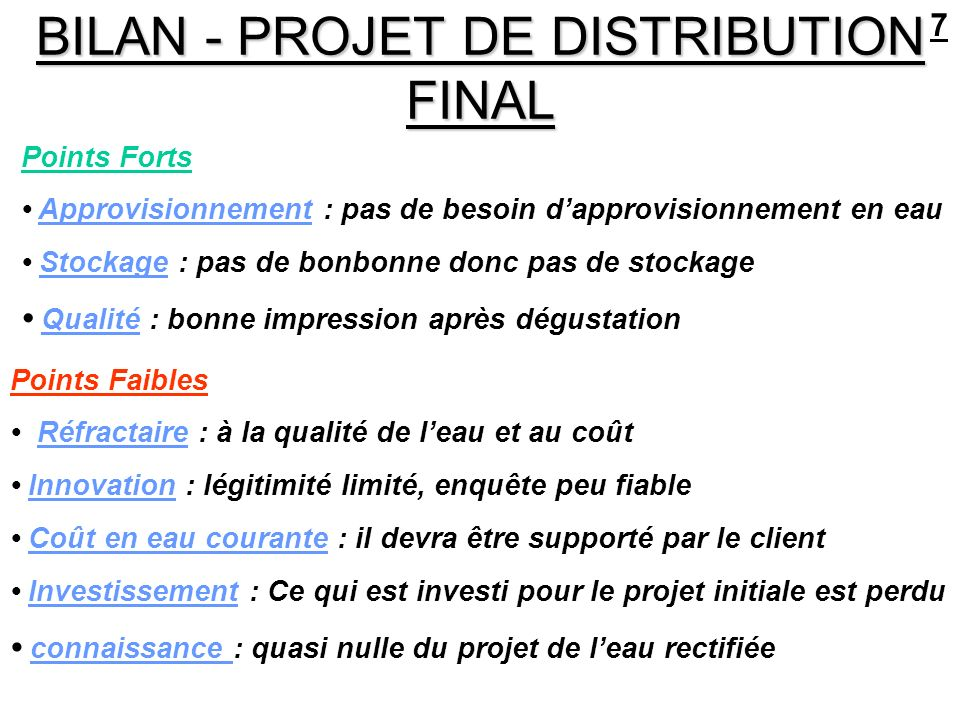 BILAN - PROJET DE DISTRIBUTION FINAL