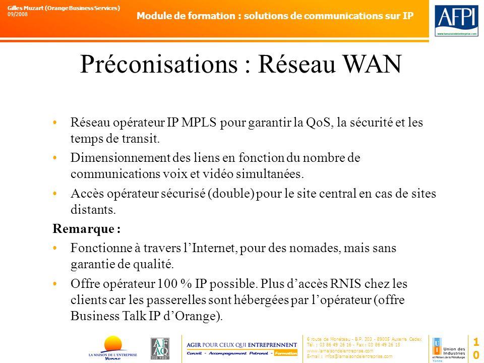 Préconisations : Réseau WAN