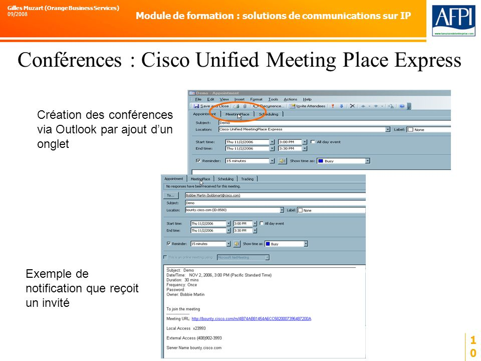 Conférences : Cisco Unified Meeting Place Express