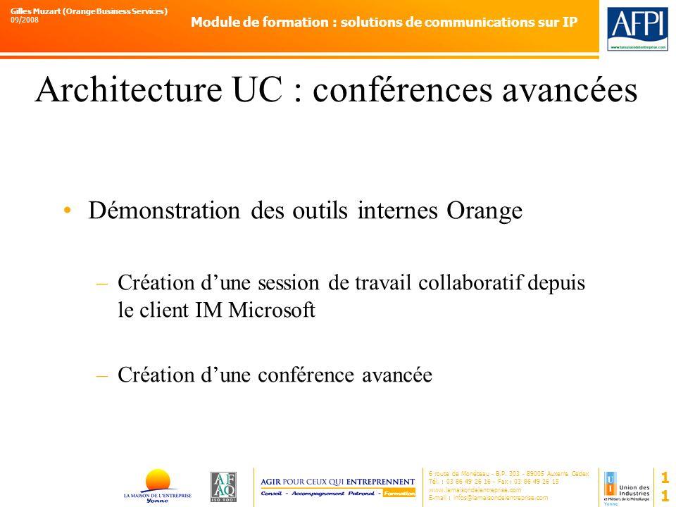 Architecture UC : conférences avancées