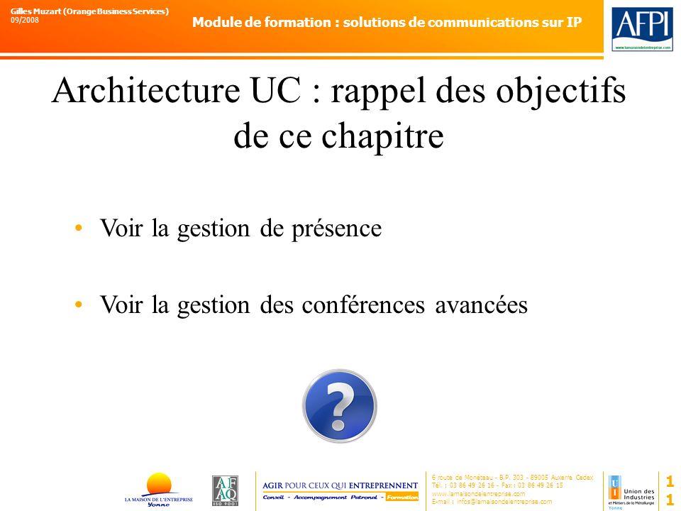 Architecture UC : rappel des objectifs de ce chapitre