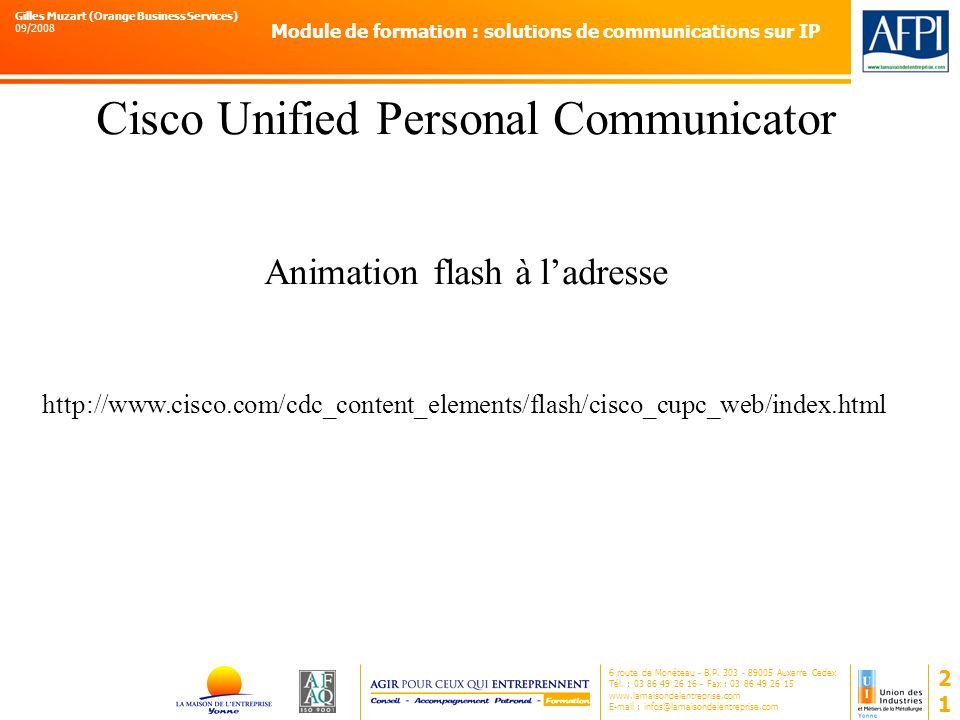 Cisco Unified Personal Communicator Animation flash à l'adresse