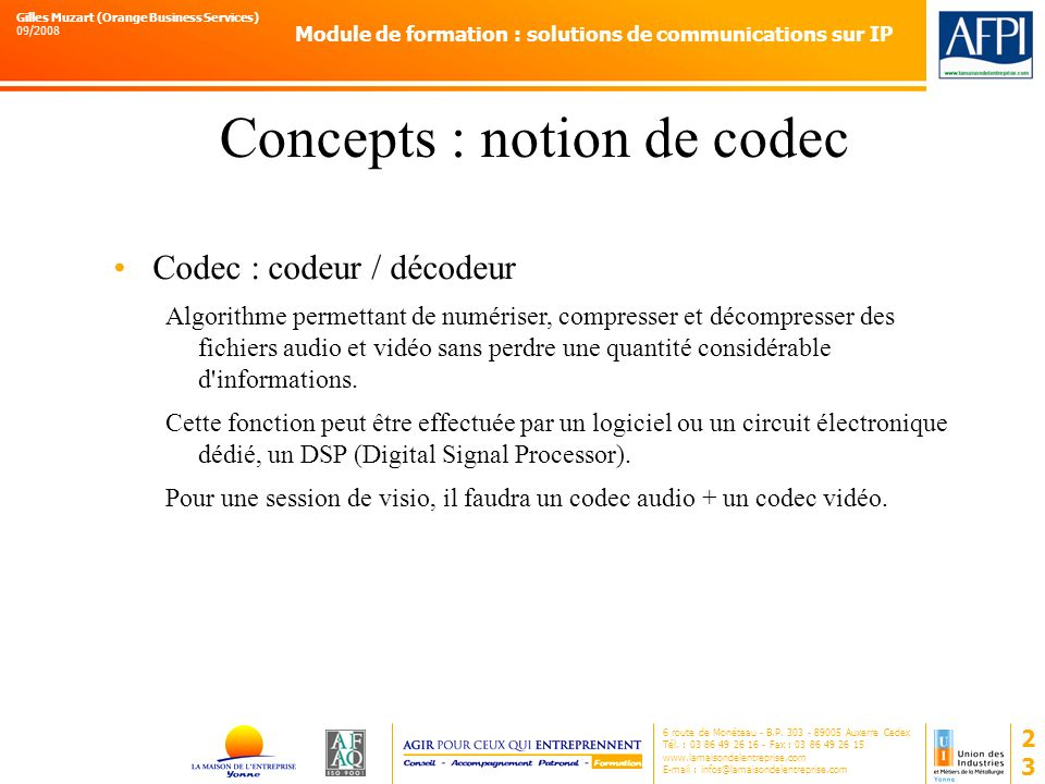 Concepts : notion de codec