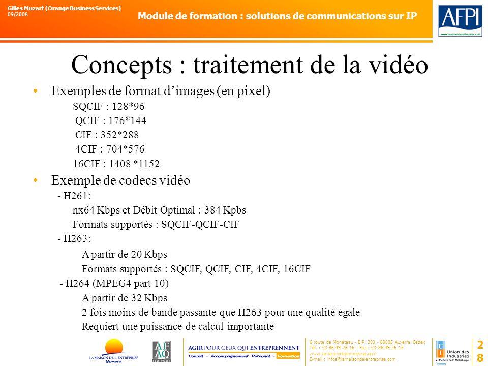 Concepts : traitement de la vidéo
