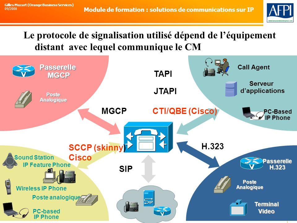 Le protocole de signalisation utilisé dépend de l'équipement distant avec lequel communique le CM