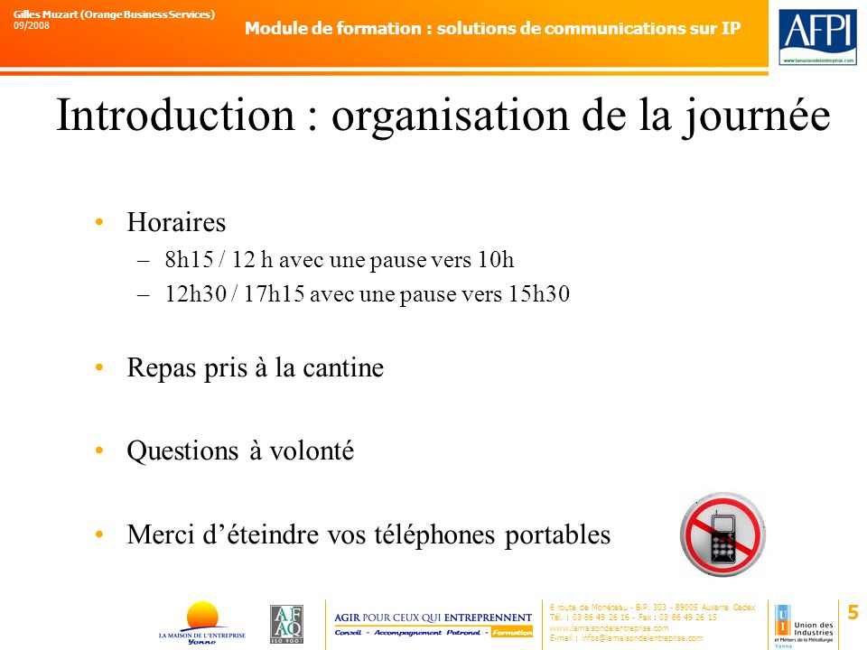 Introduction : organisation de la journée