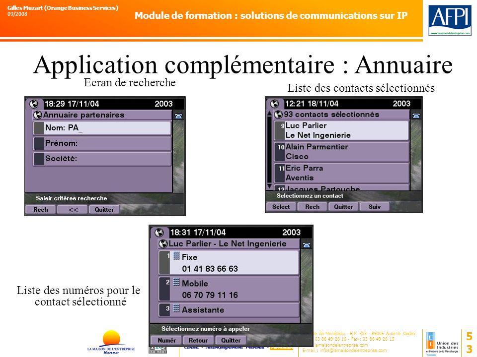 Application complémentaire : Annuaire