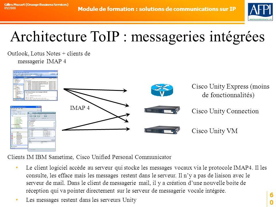 Architecture ToIP : messageries intégrées