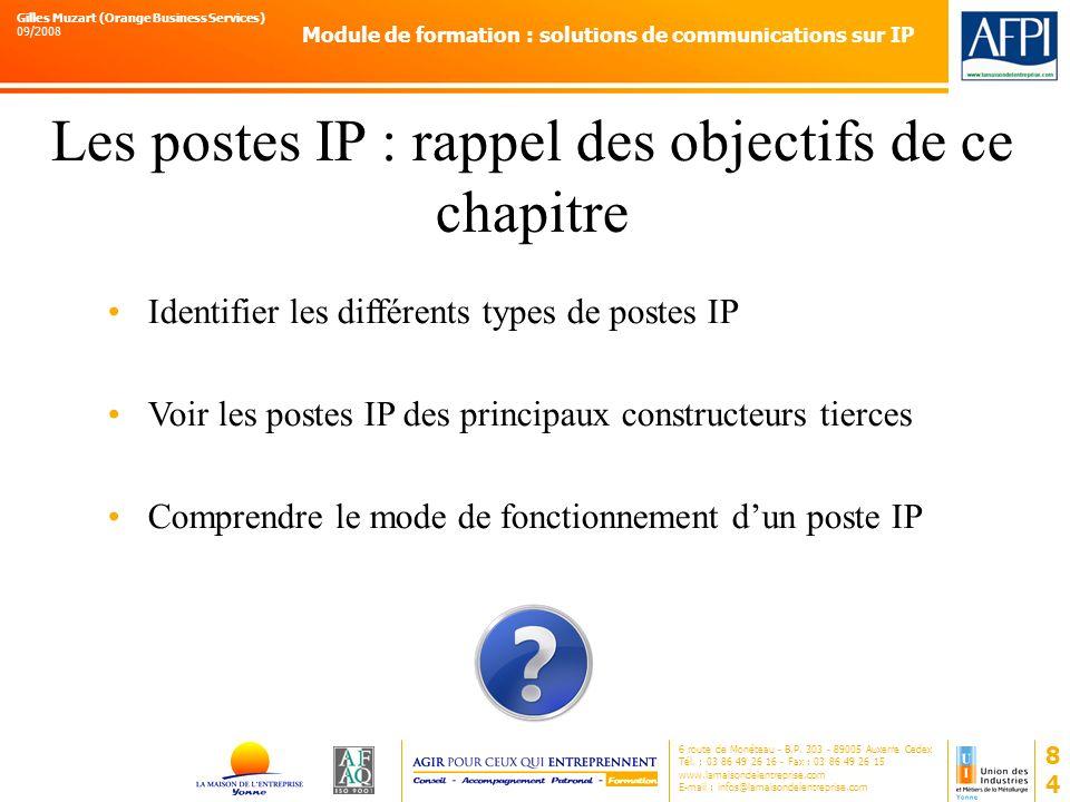 Les postes IP : rappel des objectifs de ce chapitre