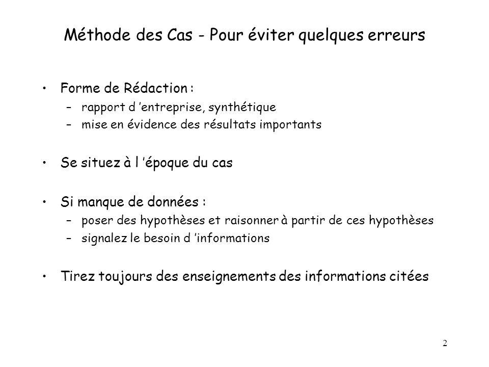 Méthode des Cas - Pour éviter quelques erreurs