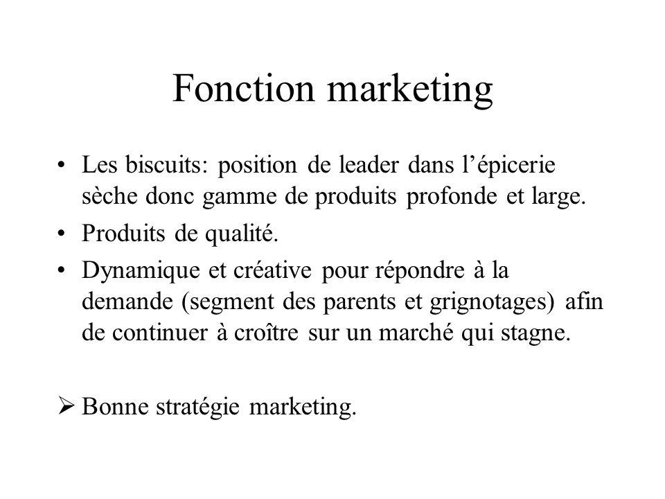 Fonction marketing Les biscuits: position de leader dans l'épicerie sèche donc gamme de produits profonde et large.