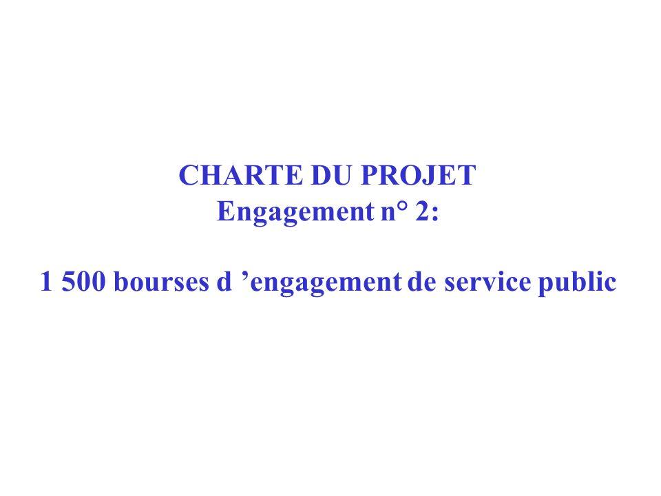 CHARTE DU PROJET Engagement n° 2: 1 500 bourses d 'engagement de service public
