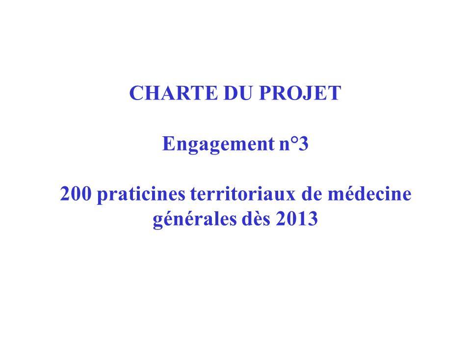 CHARTE DU PROJET Engagement n°3 200 praticines territoriaux de médecine générales dès 2013