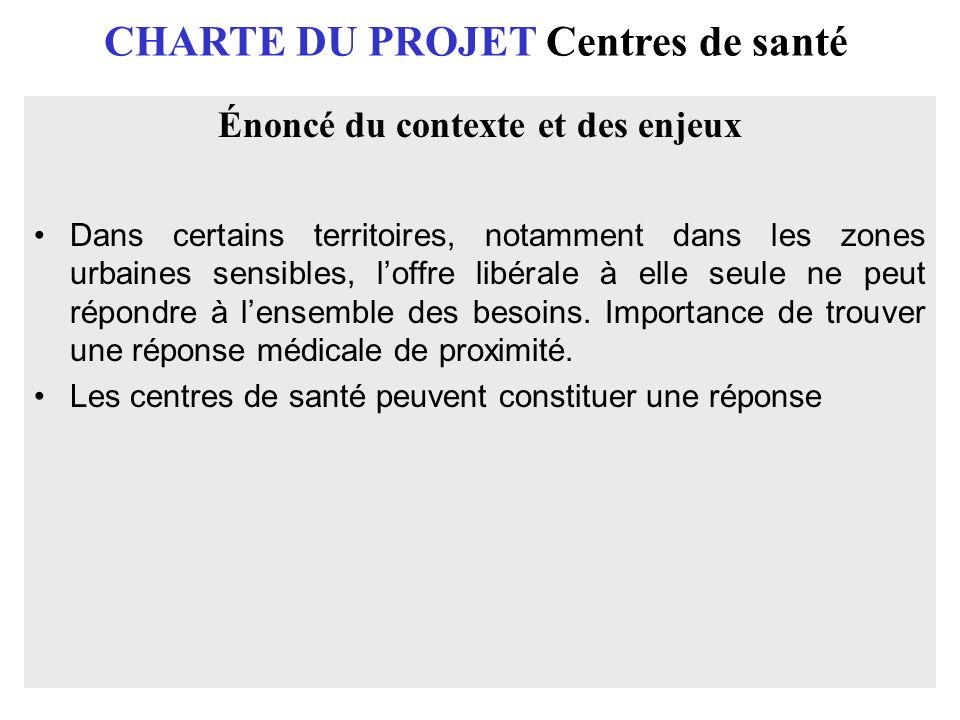 CHARTE DU PROJET Centres de santé Énoncé du contexte et des enjeux