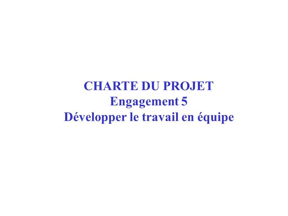 CHARTE DU PROJET Engagement 5 Développer le travail en équipe