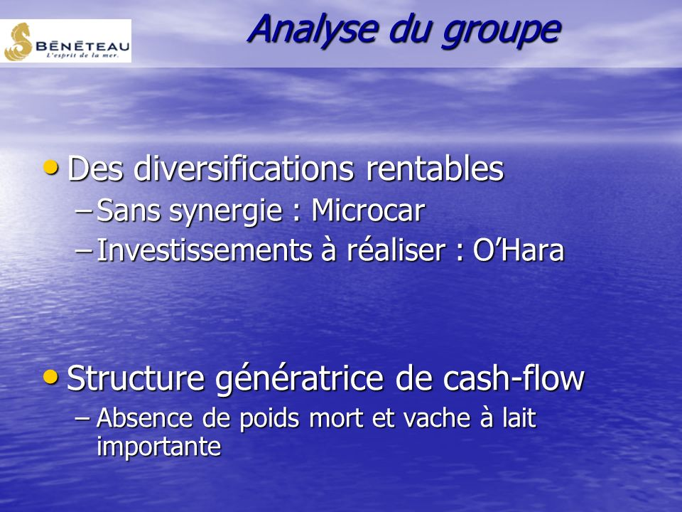Analyse du groupe Des diversifications rentables