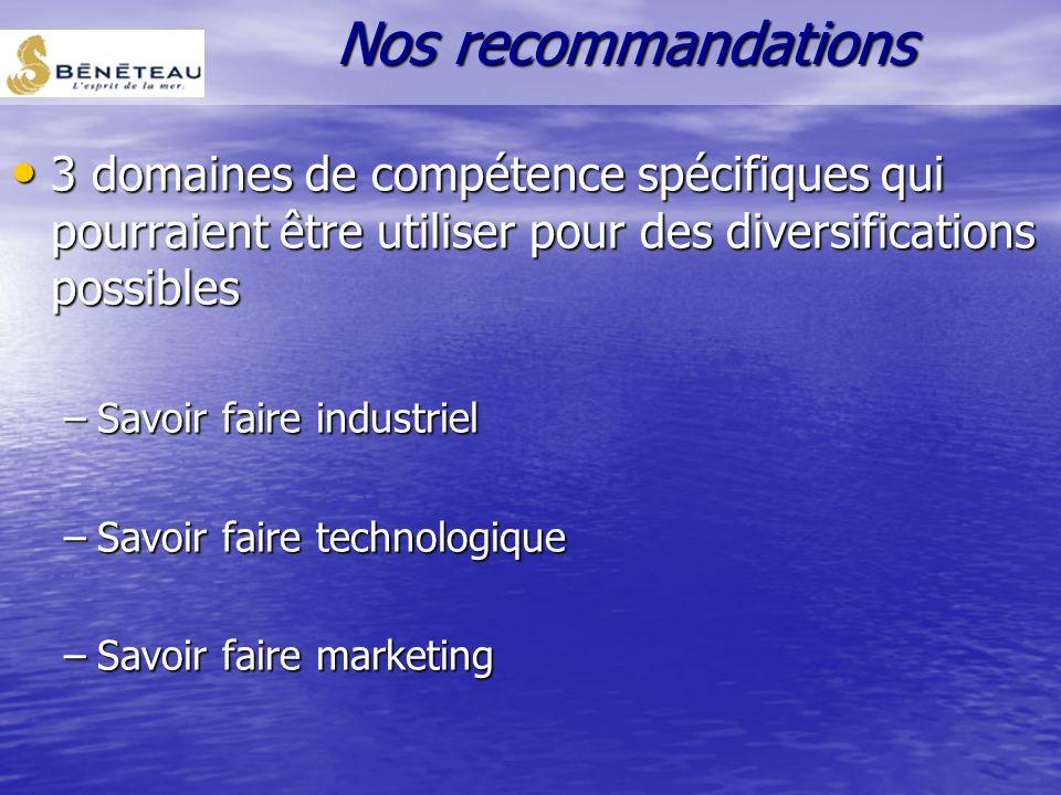 Nos recommandations 3 domaines de compétence spécifiques qui pourraient être utiliser pour des diversifications possibles.