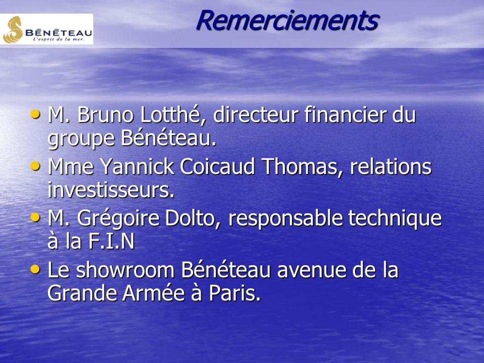 Remerciements M. Bruno Lotthé, directeur financier du groupe Bénéteau.