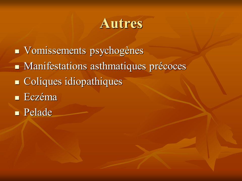 Autres Vomissements psychogènes Manifestations asthmatiques précoces