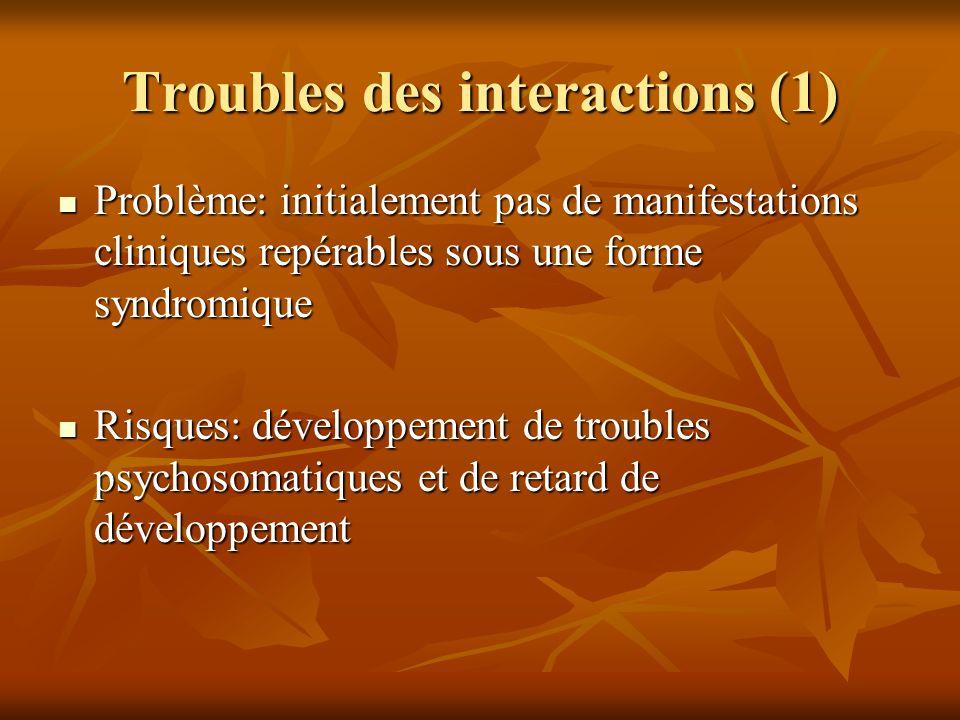 Troubles des interactions (1)