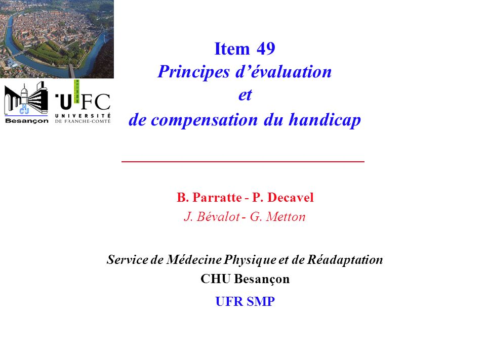 Item 49 Principes d'évaluation et de compensation du handicap