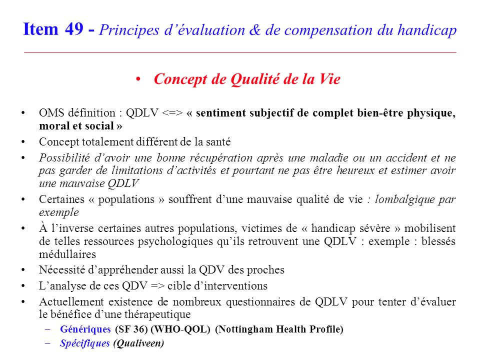 Item 49 - Principes d'évaluation & de compensation du handicap