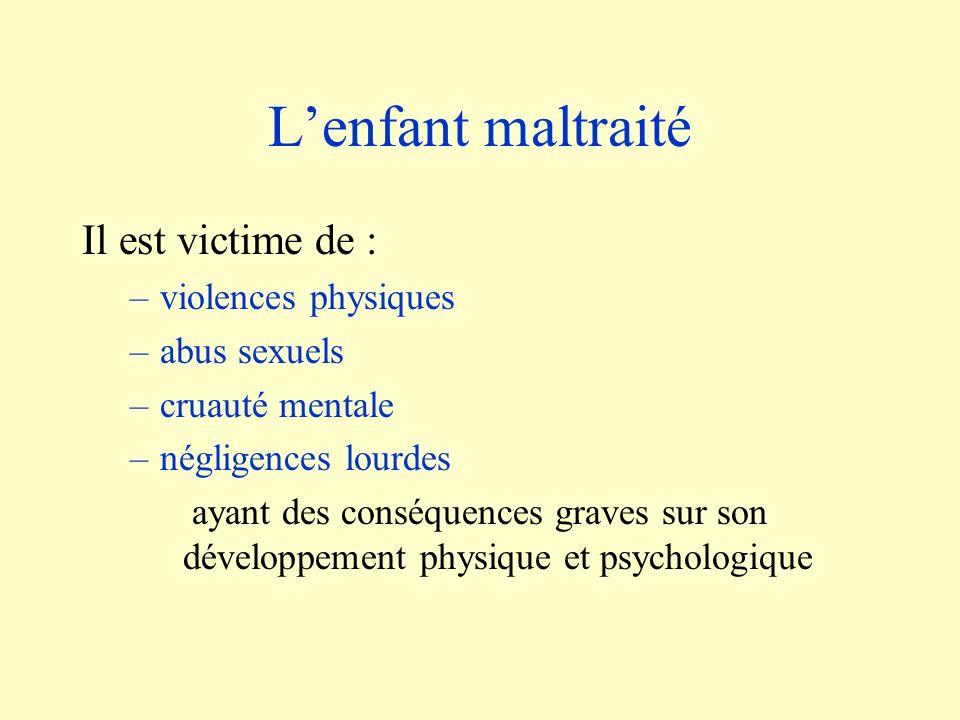 L'enfant maltraité Il est victime de : violences physiques