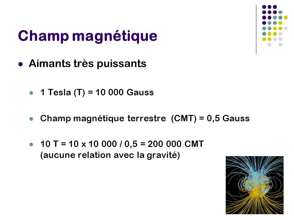 Champ magnétique Aimants très puissants 1 Tesla (T) = 10 000 Gauss