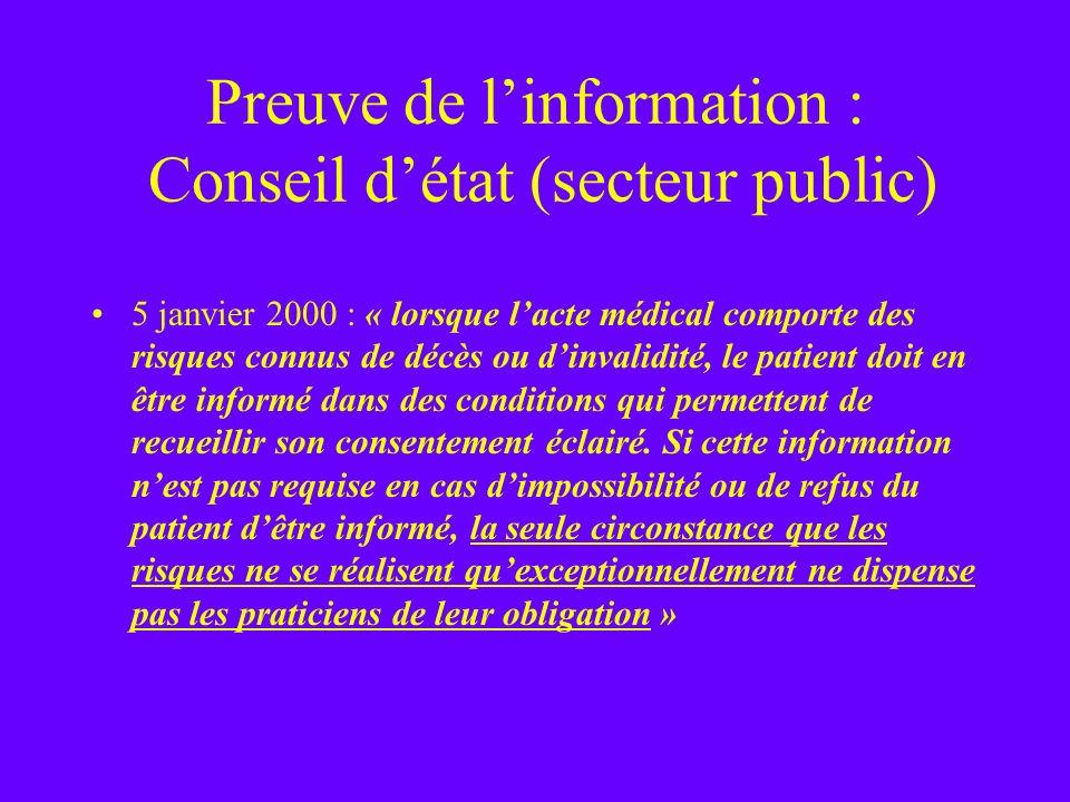 Preuve de l'information : Conseil d'état (secteur public)