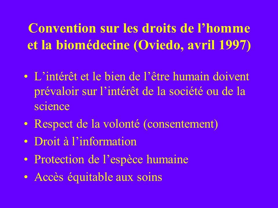 Convention sur les droits de l'homme et la biomédecine (Oviedo, avril 1997)