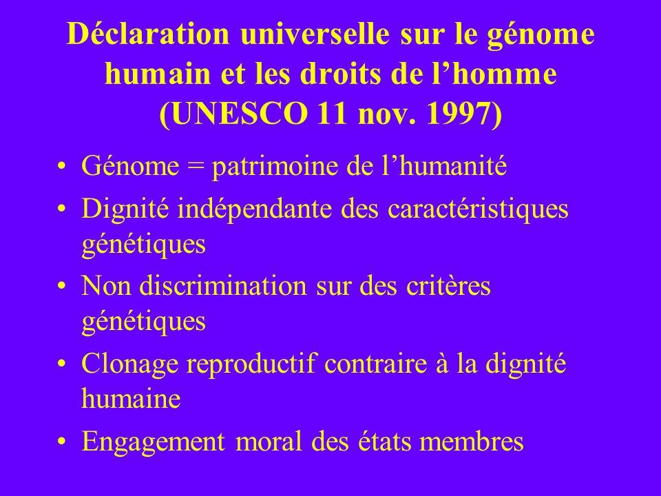 Déclaration universelle sur le génome humain et les droits de l'homme (UNESCO 11 nov. 1997)