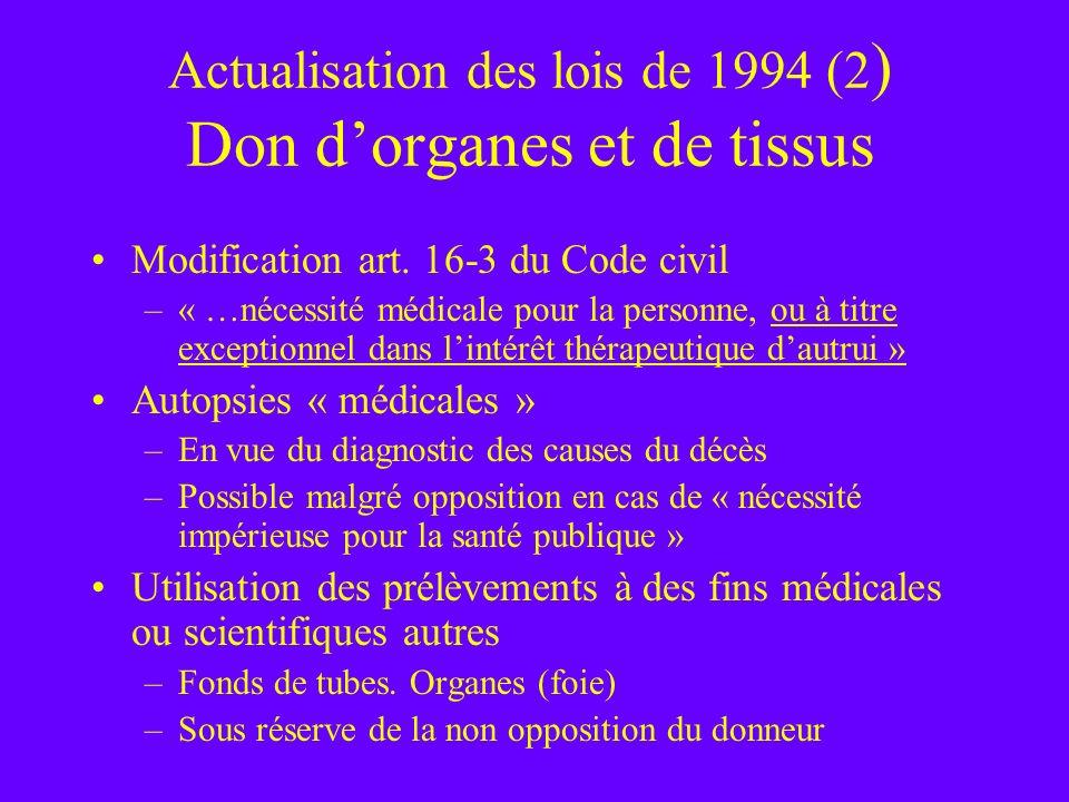 Actualisation des lois de 1994 (2) Don d'organes et de tissus