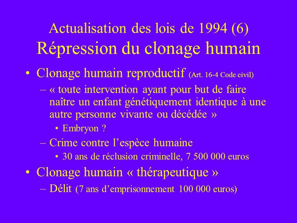 Actualisation des lois de 1994 (6) Répression du clonage humain