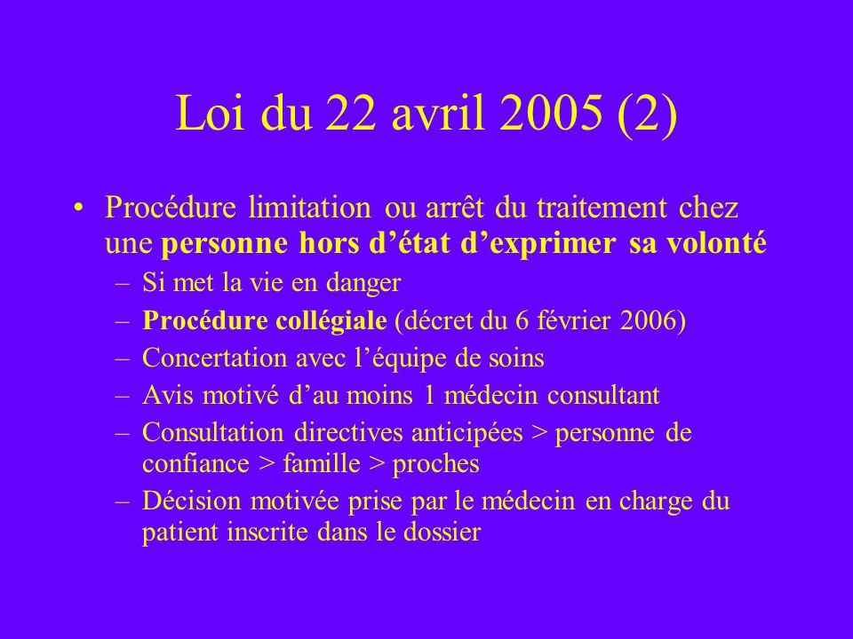 Loi du 22 avril 2005 (2)Procédure limitation ou arrêt du traitement chez une personne hors d'état d'exprimer sa volonté.