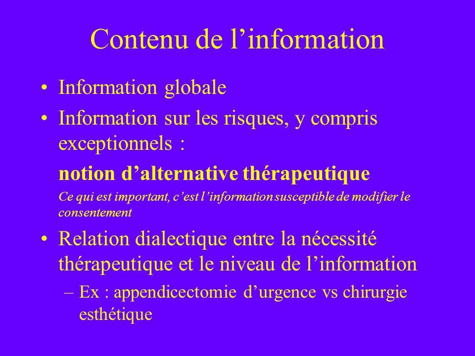 Contenu de l'information