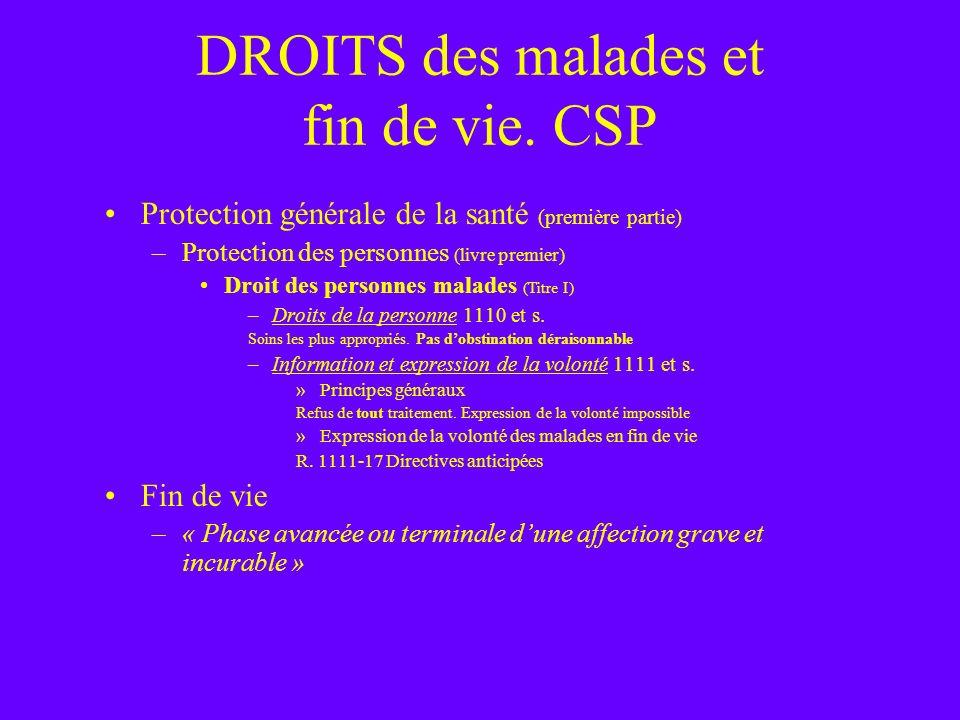 DROITS des malades et fin de vie. CSP