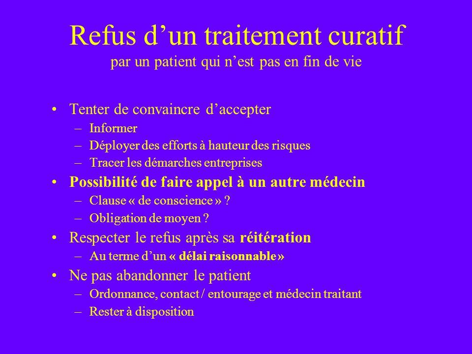 Refus d'un traitement curatif par un patient qui n'est pas en fin de vie