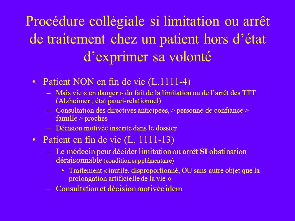 Procédure collégiale si limitation ou arrêt de traitement chez un patient hors d'état d'exprimer sa volonté