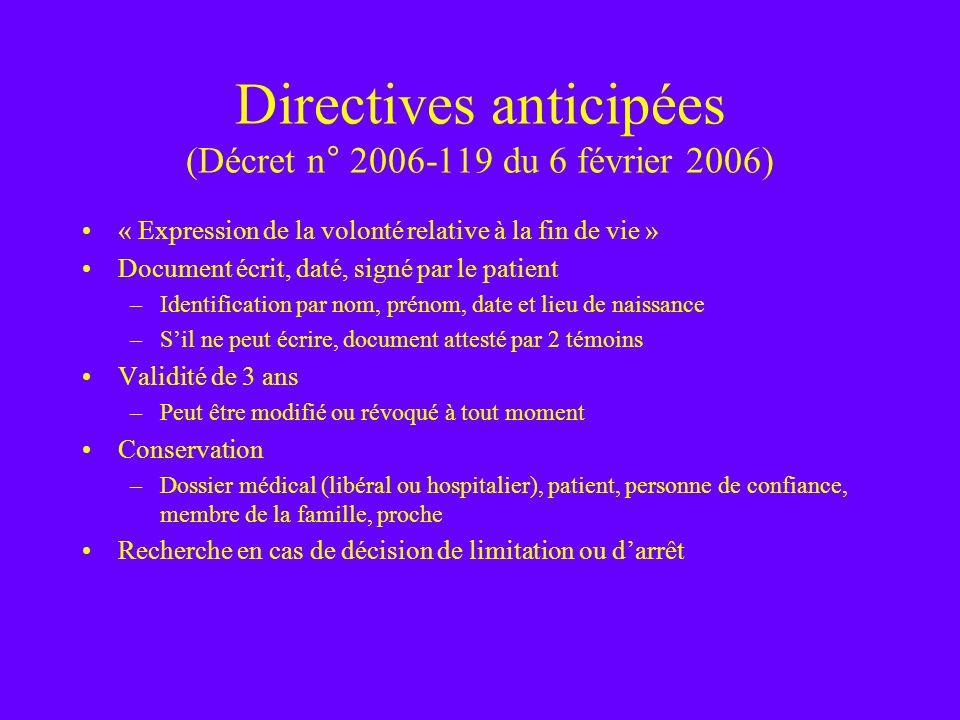 Directives anticipées (Décret n° 2006-119 du 6 février 2006)
