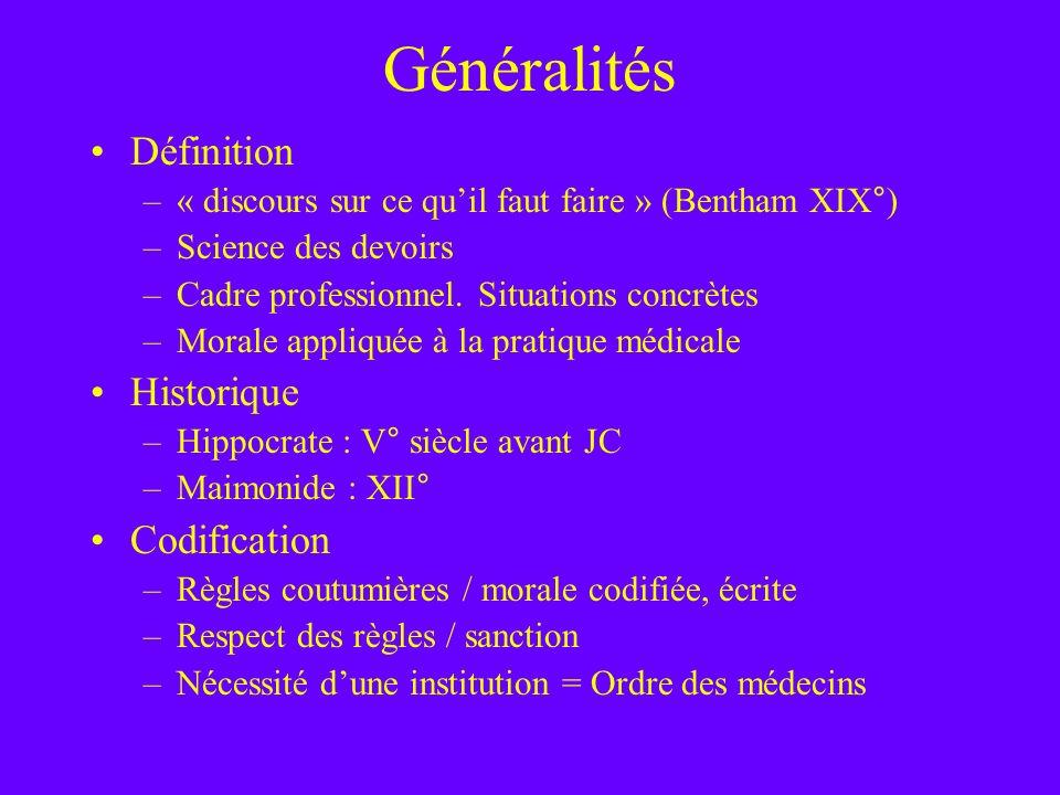Généralités Définition Historique Codification
