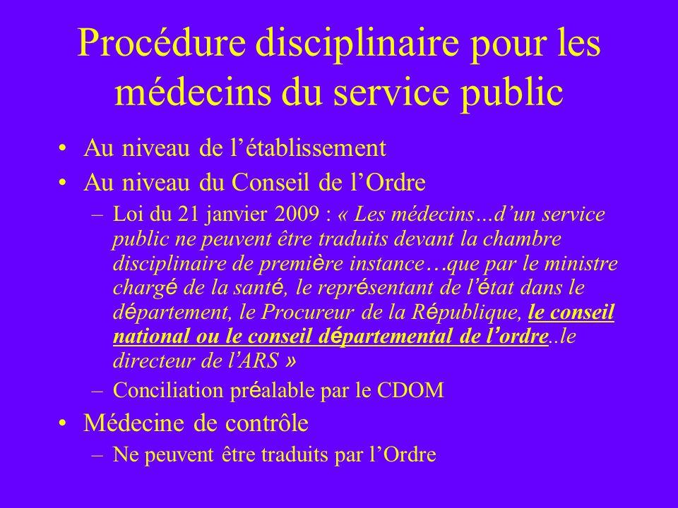 Procédure disciplinaire pour les médecins du service public