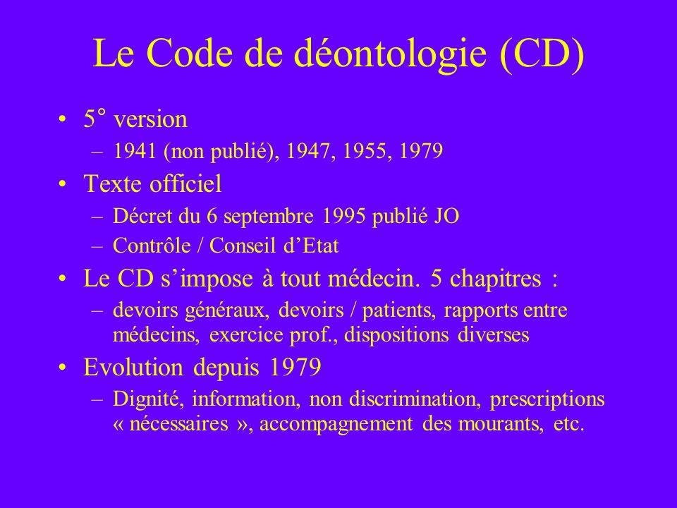 Le Code de déontologie (CD)