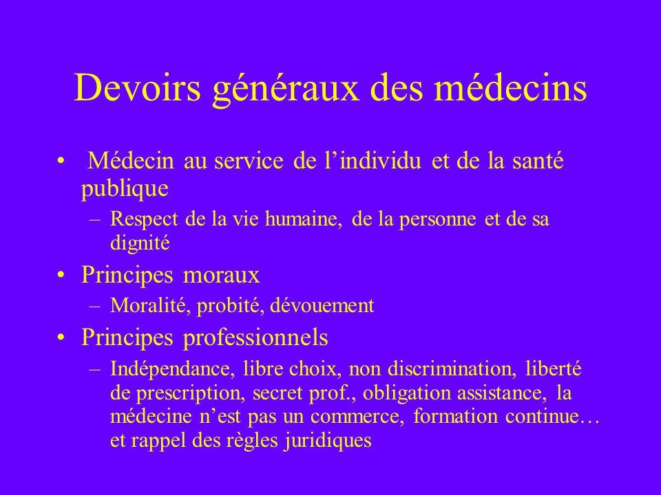 Devoirs généraux des médecins
