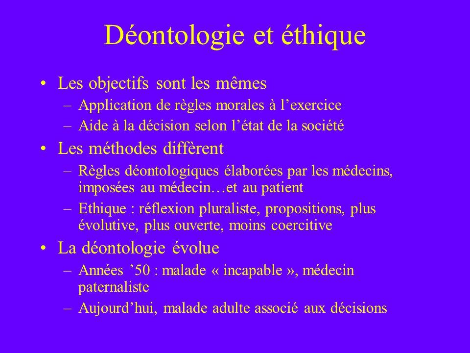 Déontologie et éthique