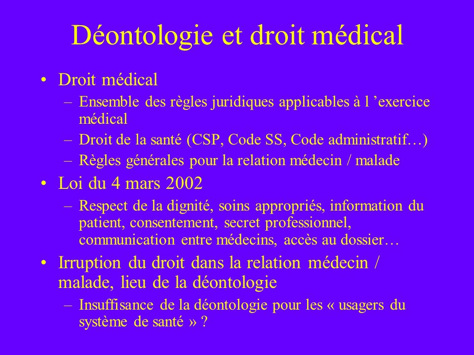 Déontologie et droit médical