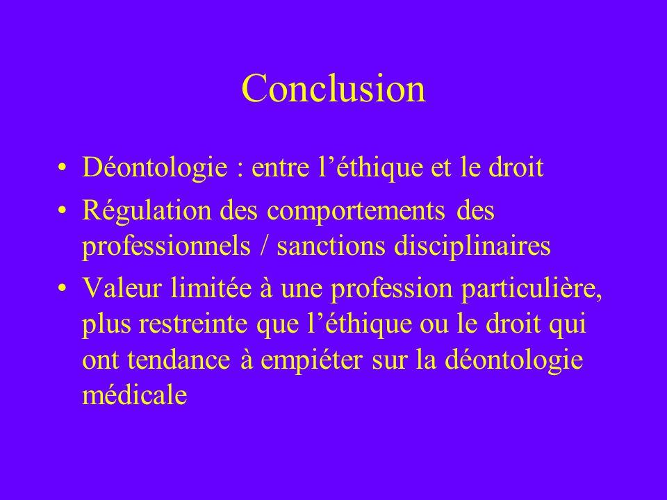 Conclusion Déontologie : entre l'éthique et le droit